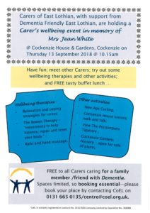 Poster re Carers Wellbeing Event
